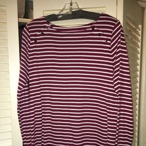 LOFT maroon and white striped t-shirt